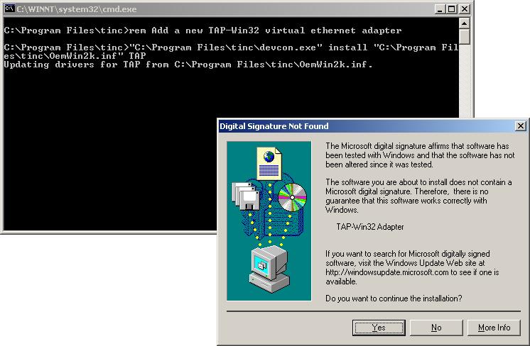 installing tinc on Windows 2000/XP/7/8